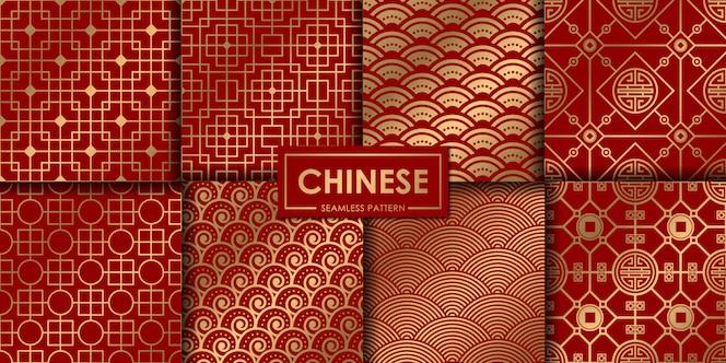 Colección de patrones chinos dorados