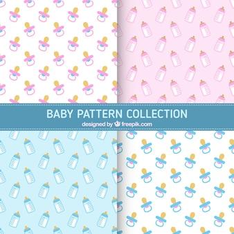 Colección de patrones con chupetes y biberones