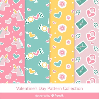 Colección patrones colores pastel san valentín