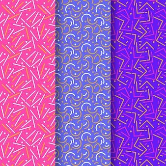 Colección de patrones de colores vivos de líneas redondeadas