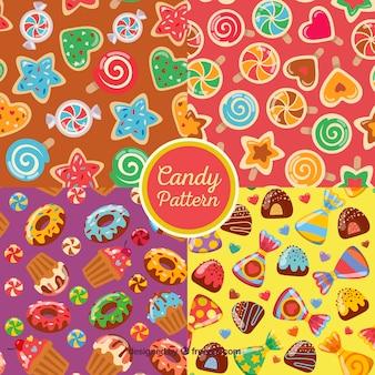 Colección de patrones coloridos con deliciosos dulces