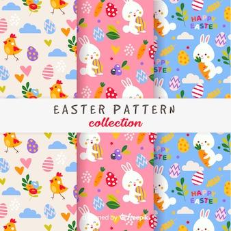 Colección patrones coloridos día de pascua