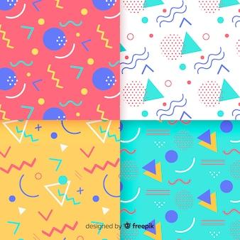 Colección de patrones coloridos de memphis