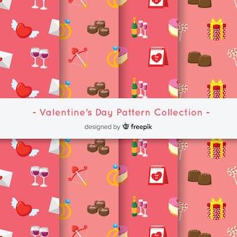 Colección patrones coloridos san valentín