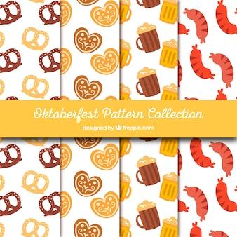 Colección patrones de comida y bebida de oktoberfest
