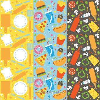 Colección de patrones de comida dibujados a mano