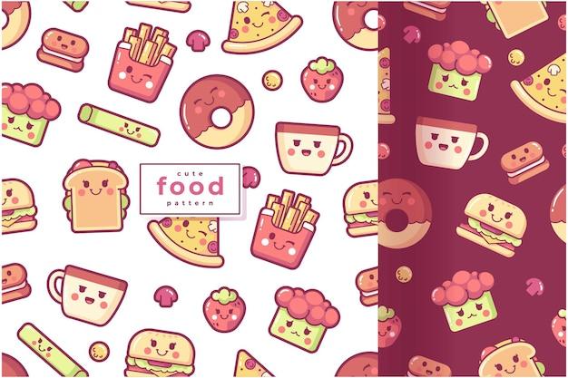 Colección de patrones de comida linda dibujada a mano