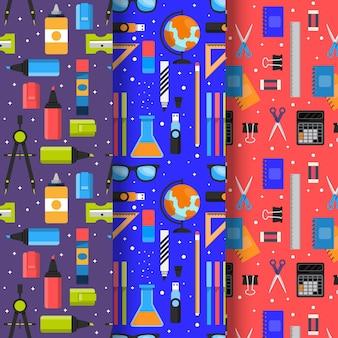 Colección de patrones con concepto de regreso a la escuela