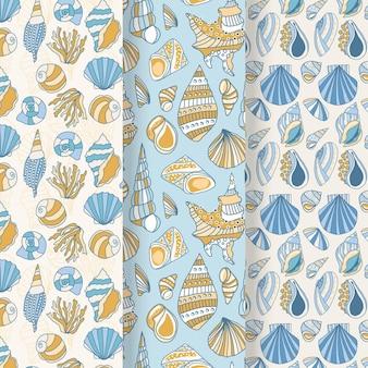Colección de patrones de conchas marinas sin costura