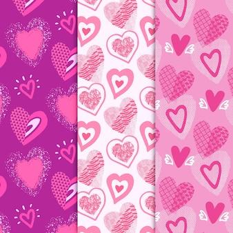 Colección de patrones de corazón dibujado