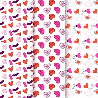 Colección de patrones de corazón dibujados a mano