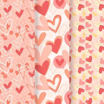 Colección de patrones de corazón en diseño plano