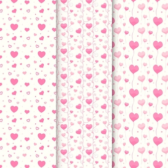 Colección de patrones de corazón plano