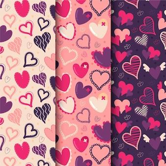 Colección de patrones de corazones dibujados a mano