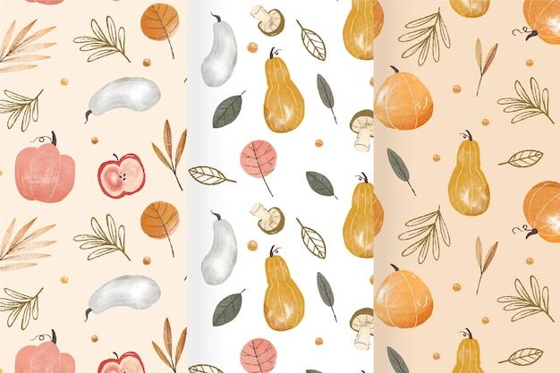 Colección de patrones de cosecha de otoño en acuarela