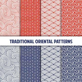 Colección de patrones sin costura japoneses tradicionales
