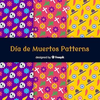 Colección de patrones creativos del día de los muertos