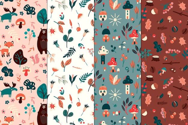 Colección de patrones creativos con plantas