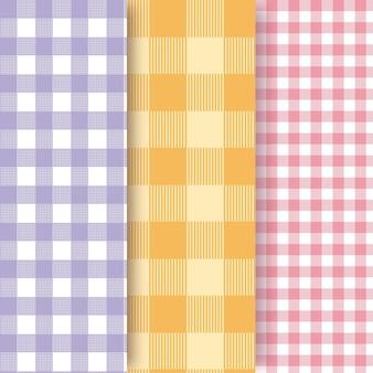 Colección de patrones de cuadros vichy pastel