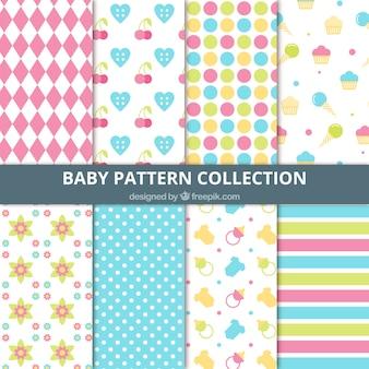 Colección de patrones decorativos abstractos y de elementos de bebés