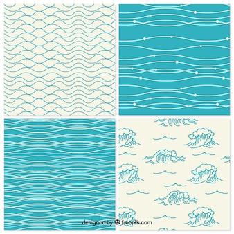 Colección de patrones decorativos de olas dibujadas a mano