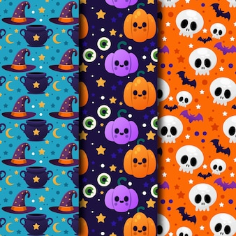 Colección de patrones degradados de halloween