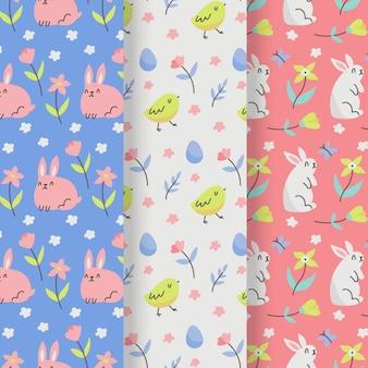 Colección de patrones del día de pascua con conejito