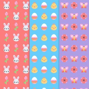 Colección de patrones para el día de pascua con conejitos