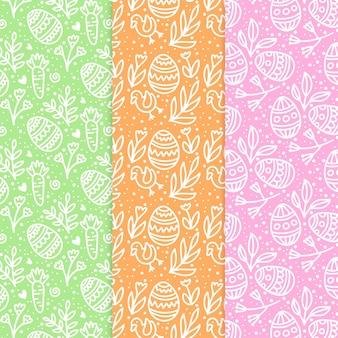 Colección de patrones de día de pascua dibujados a mano