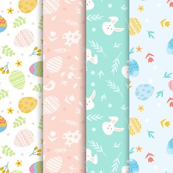 Colección de patrones de día de pascua de diseño plano