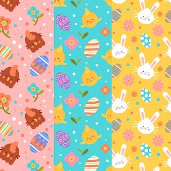 Colección de patrones del día de pascua en diseño plano
