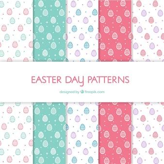 Colección de patrones del día de pascua en estilo plano