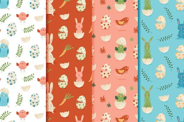 Colección de patrones de día de pascua de estilo plano