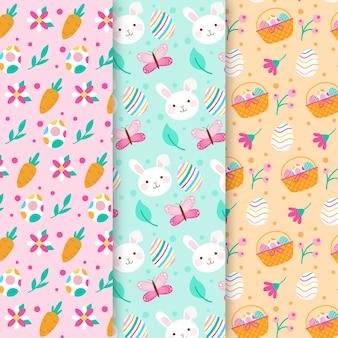 Colección de patrones para el día de pascua con zanahorias y conejitos