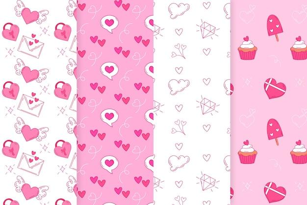 Colección de patrones del día de san valentín dibujados a mano con sobres y corazones