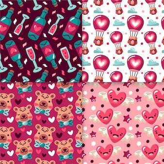 Colección de patrones del día de san valentín dibujados a mano