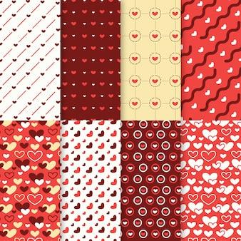 Colección de patrones del día de san valentín en diseño plano