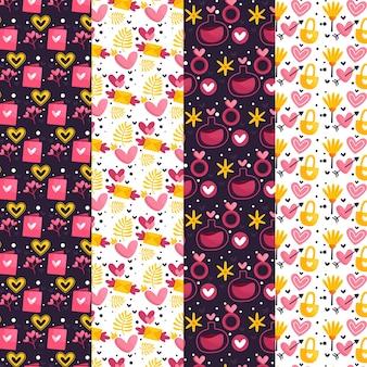 Colección de patrones de día de san valentín de diseño plano