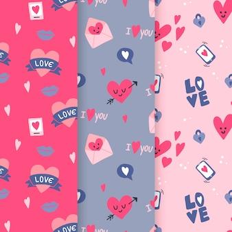 Colección de patrones del día de valentiens dibujados a mano