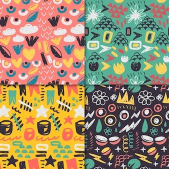 Colección de patrones dibujados abstractos