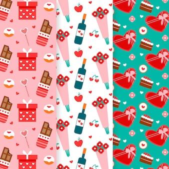 Colección de patrones dibujados a mano del día de san valentín