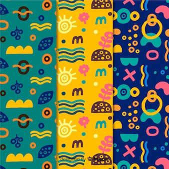 Colección de patrones dibujados a mano de diseño minimalista colorido