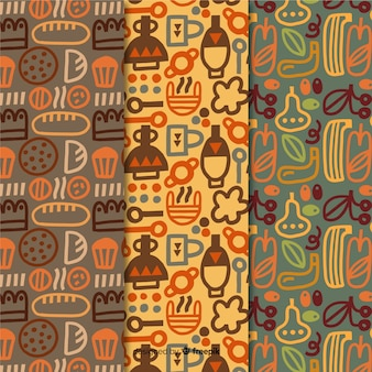 Colección de patrones dibujados a mano de diseño de panadería