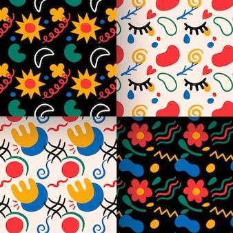 Colección de patrones dibujados a mano floral abstracto