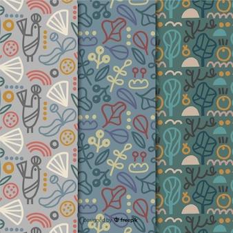 Colección de patrones dibujados a mano de follaje