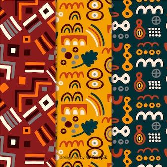 Colección de patrones dibujados a mano de formas abstractas geométricas