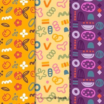 Colección de patrones dibujados a mano garabatos divertidos
