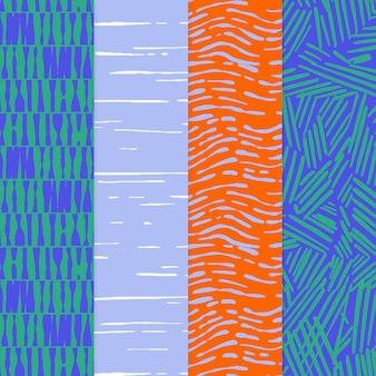 Colección de patrones dibujados a mano de grabado