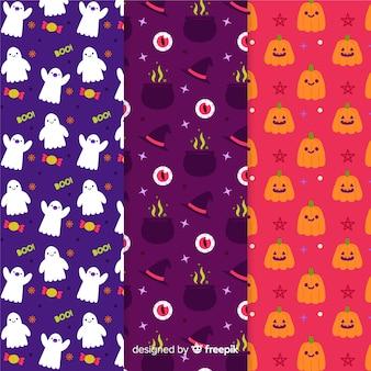 Colección de patrones dibujados a mano de halloween