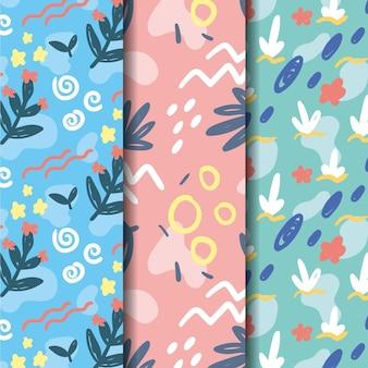 Colección de patrones dibujados a mano de hojas naturales